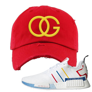 NMD R1 Olympic Pack Distressed Dad Hat | Red, OG