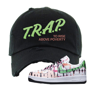 Air Force 1 Low Multi-Colored Tie-Dye Distressed Dad Hat | Black, Trap To Rise Above Poverty