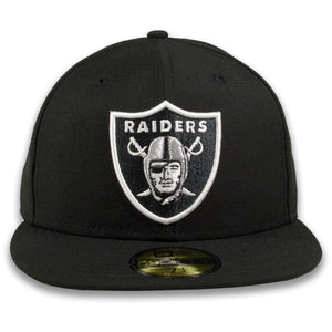 RAIDERS FITTED CAP TEAM LOGO CAP 59FIFTY 5950 FITTED CAP | BLACK OAKLAND GREY BOTTOM FITTED RAIDERS FITTED