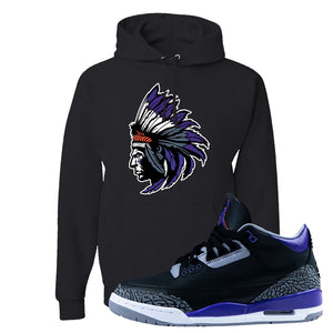 Air Jordan 3 Court Purple Hoodie | Indian Chief, Black