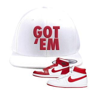 Jordan 1 New Beginnings Pack Sneaker White Snapback Hat | Hat to match Nike Air Jordan 1 New Beginnings Pack Shoes | Got Em