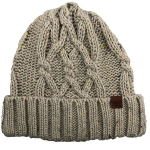 the womens ivory cable knit confetti beanie is an ivory color