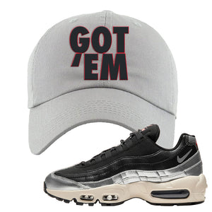 3M x Nike Air Max 95 Silver and Black Dad Hat | Got Em, Light Gray
