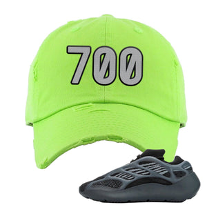 Yeezy Boost 700 V3 Alvah Sneaker Neon Green Distressed Dad Hat | Hat match Adidas Yeezy Boost 700 V3 Alvah Shoes | 700 Logo