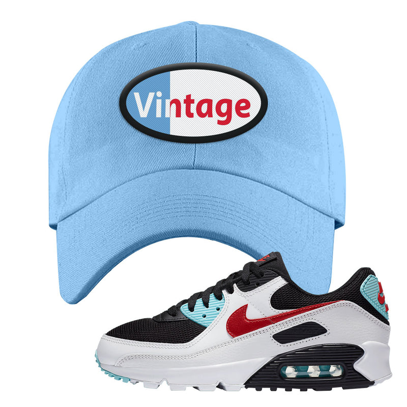 Air Max 90 Bleached Aqua and Chile Red Dad Hat | Light Blue, Vintage Oval