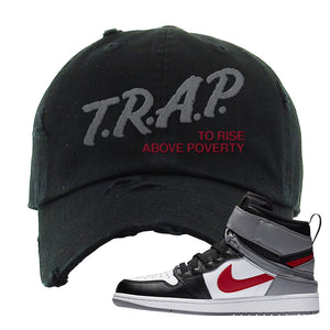 Air Jordan 1 Flyease Distressed Dad Hat | Black, Trap To Rise Above Poverty