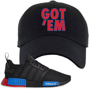 NMD R1 Black Red Boost Matching Dad Hat | Sneaker Dad Hat to match NMD R1s | Got Em, Black