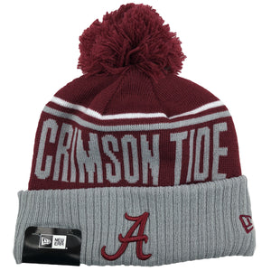The crimson tide University of Alabama knit hat has a Alabama logo embroidered on the front in burgundy