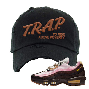 Air Max 95 Cuban Links Distressed Dad Hat | Black, Trap To Rise Above Poverty