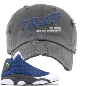 Jordan 13 Flint 2020 Sneaker Dark Gray Distressed Dad Hat | Hat to match Nike Air Jordan 13 Flint 2020 Shoes | Trap To Rise