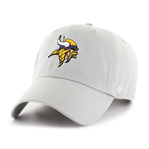 embroidered on the front of the minnesota vikings gray dad hat is the minnesota vikings logo