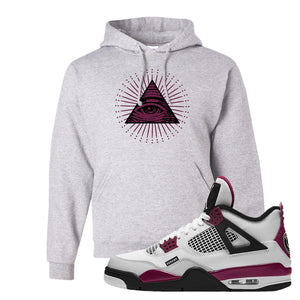 Air Jordan 4 PSG Paname Pullover Hoodie | All Seeing Eye, Ash