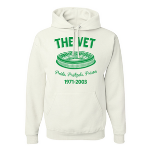 The Vet Pride, Pretzels, Prison Pullover Hoodie | Veterans Stadium White Pullover Sweatshirt the front of this pullover hoodie has the vet stadium