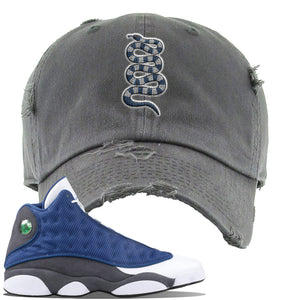 Jordan 13 Flint 2020 Sneaker Dark Gray Distressed Dad Hat | Hat to match Nike Air Jordan 13 Flint 2020 Shoes | Coiled Snake