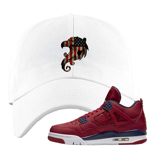 Air Jordan 4 FIBA Stars and Stripes Eagle White Sneaker Matching Dad Hat