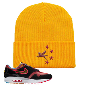 Air Max 1 NYC Chinatown Pegasus With Chinese Stars Gold Beanie To Match Sneakers