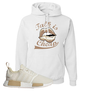 NMD R1 Chalk White Sneaker White Pullover Hoodie | Hoodie to match Adidas NMD R1 Chalk White Shoes | Talk is Cheap