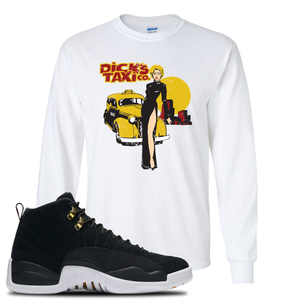 Dick's Taxi Co White Long Sleeve T-Shirt To Match Jordan 12 Reverse Taxi Sneakers