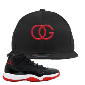 Jordan 11 Bred OG Black Sneaker Hook Up Snapback Hat