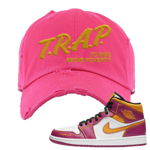 Air Jordan 1 Mid Familia Distressed Dad Hat | Trap To Rise Above Poverty, Hot Pink