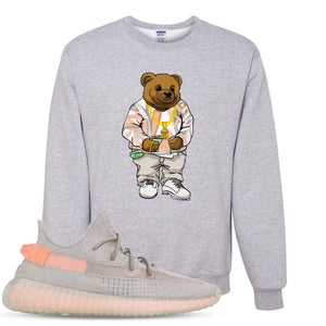 Yeezy Boost 350 True Form V2 Sneaker Hook Up Polo Sweater Bear Heathered Light Gray Crewneck Sweater