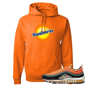 Printed on the front of the Air Max 97 Sunburst safety orange sneaker matching pullover hoodie is the sunburst soda logo