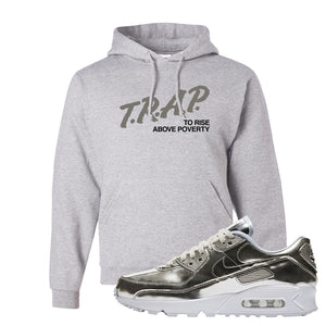 Air Max 90 WMNS 'Medal Pack' Chrome Sneaker Ash Pullover Hoodie | Hoodie to match Nike Air Max 90 WMNS 'Medal Pack' Chrome Shoes | Trap to Rise Above