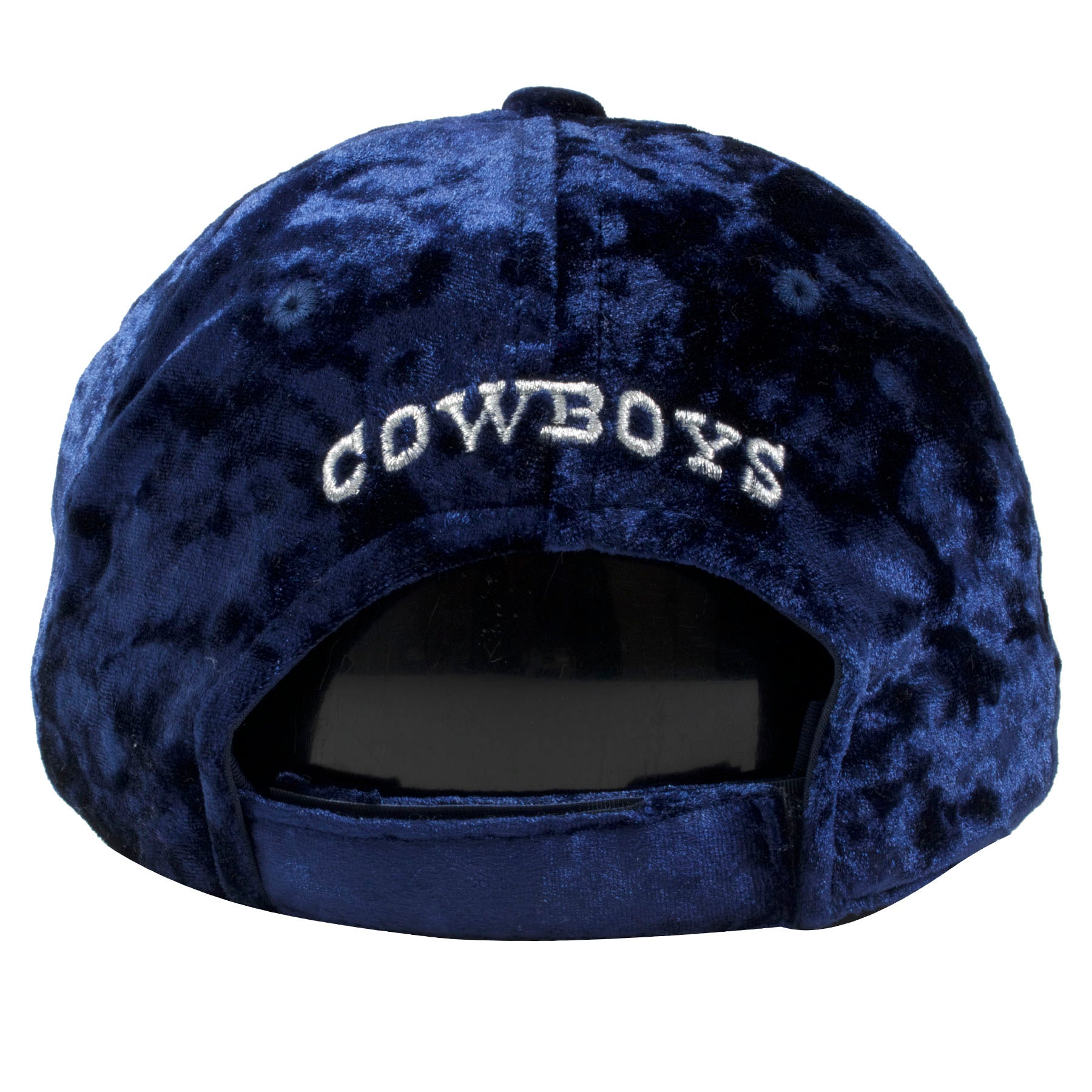 90753ac9960 ... the back of the Dallas Cowboys navy blue velour baseball cap is the word  Cowboys embroidered ...