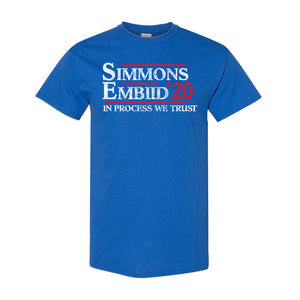 Simmons and Embiid 2020 T-Shirt | Ben Simmons and Joel Embiid 2020 Royal Blue T-Shirt the front of this shirt has the simmons embiid 2020 logo