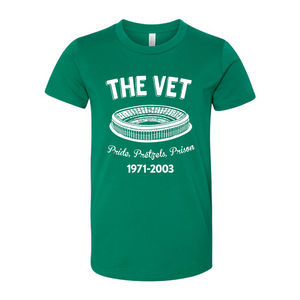 The Vet Pride, Pretzels, Prison T-Shirt | Veterans Stadium Kelly Green Tee Shirt the front of this t-shirt has the vet stadium