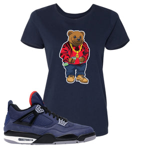 Jordan 4 WNTR Loyal Blue Sweater Bear Navy Sneaker Hook Up Women's T-Shirt