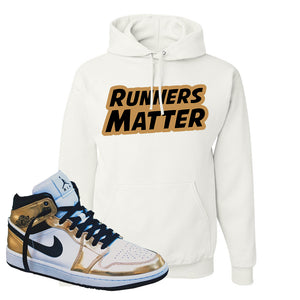 Air Jordan 1 Mid SE Metallic Gold Hoodie | Runners Matter, White