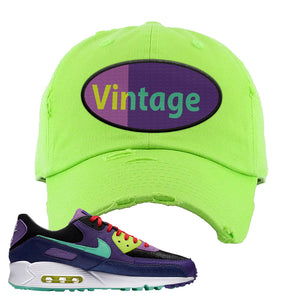 Air Max 90 Cheetah Distressed Dad Hat | Vintage Oval, Neon Green