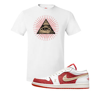 Air Jordan 1 Low Spades T Shirt | All Seeing Eye, White