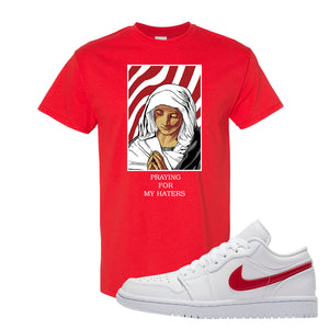 Air Jordan 1 Low White and Varsity Red T Shirt | God Told Me, Red