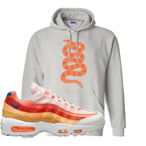 Air Max 95 Orange Snakeskin Hoodie | Coiled Snake, Ash