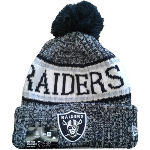 embroidered on the front of the 2018 oakland raiders on field sideline cold weather winter beanie is the oakland raiders logo in black, silver, and white