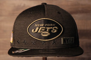 Jets Snapback | New York Jets 2020 Salute To Service Snap Cap | Camo Bottom | Black the front of this hat has the jets logo