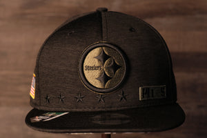 Steelers Snapback | Pittsburgh Steelers 2020 Salute To Service Snap Cap | Camo Bottom | Black this steelers cap has the steelers logo on the front