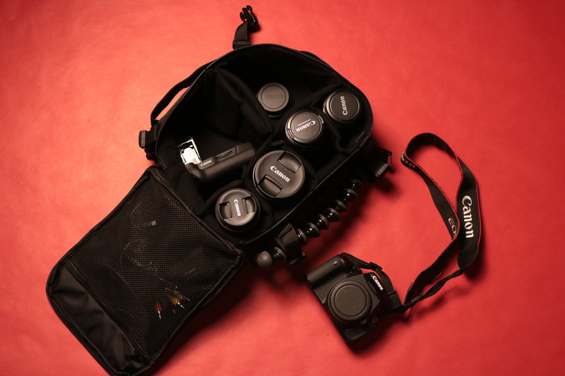 the black box media has straps on the outisde to store other items How to  organize hats and  camera  in closet camera  bag  | hat travel and storage bag | black box