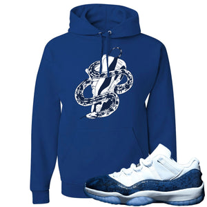 Jordan 11 Low Blue Snakeskin Snake Around Shoes Royal Blue Hoodie