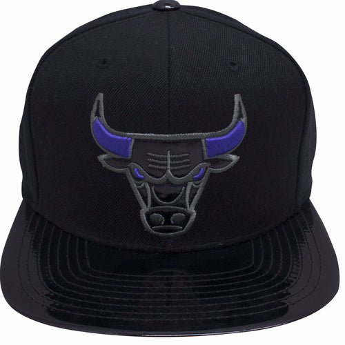 on the front of the Chicago Bulls Air Jordan 11 Space Jam sneaker matching snapback hat is the Chicago Bulls logo with black patent leather and purple