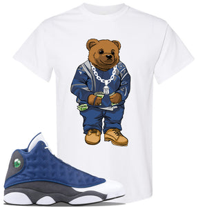 Jordan 13 Flint 2020 Sneaker White T Shirt | Tees to match Nike Air Jordan 13 Flint 2020 Shoes | Sweater Bear