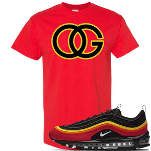 Air Max 97 Black/Chile Red/Magma Orange/White Sneaker Red T Shirt | Tees to match Nike Air Max 97 Black/Chile Red/Magma Orange/White Shoes | OG