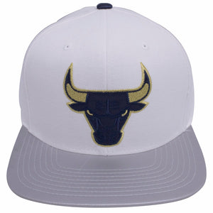 on the front of the Chicago Bulls Air Jordan 7 Tinker Alternate Sneaker Matching snapback hat has the Chicago Bulls logo embroidered in navy blue and metallic gold