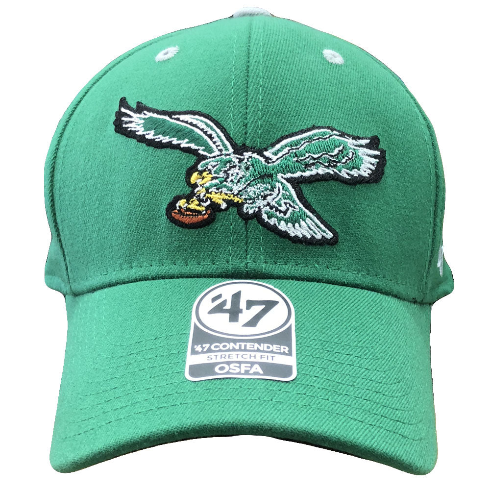 Embroidered on the front of the Philadelphia Eagles retro kelly green  stretch fit cap is the 5ee358b99368