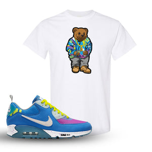 Undefeated x Air Max 90 Pacific Blue Sneaker White T Shirt | Shirt to match Undefeated x Nike Air Max 90 Pacific Blue Shoes | Sweater Bear