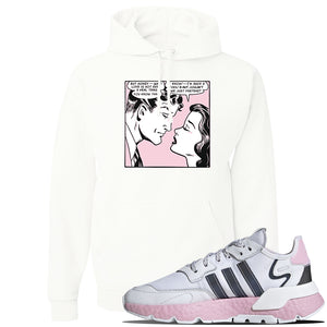 WMNS Nite Jogger Pink Hoodie | White, Fake Love Comic
