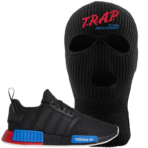 NMD R1 Black Red Boost Matching Ski Mask | Sneaker Ski Mask to match NMD R1s | Trap To Rise Above Poverty, Black