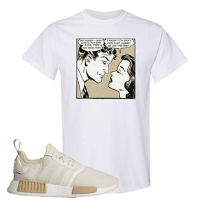 NMD R1 Chalk White Sneaker White T Shirt | Tees to match Adidas NMD R1 Chalk White Shoes | Fake Love Comic